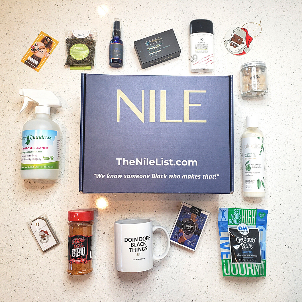 Nile Tastemakers Box with examples of curated Black-owned products surrounding it
