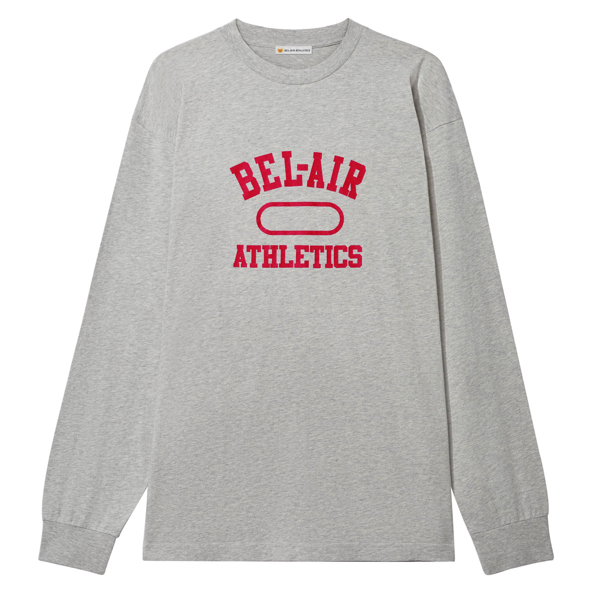 Gym Logo LS T-Shirt - Athletic Grey with Academy Red print