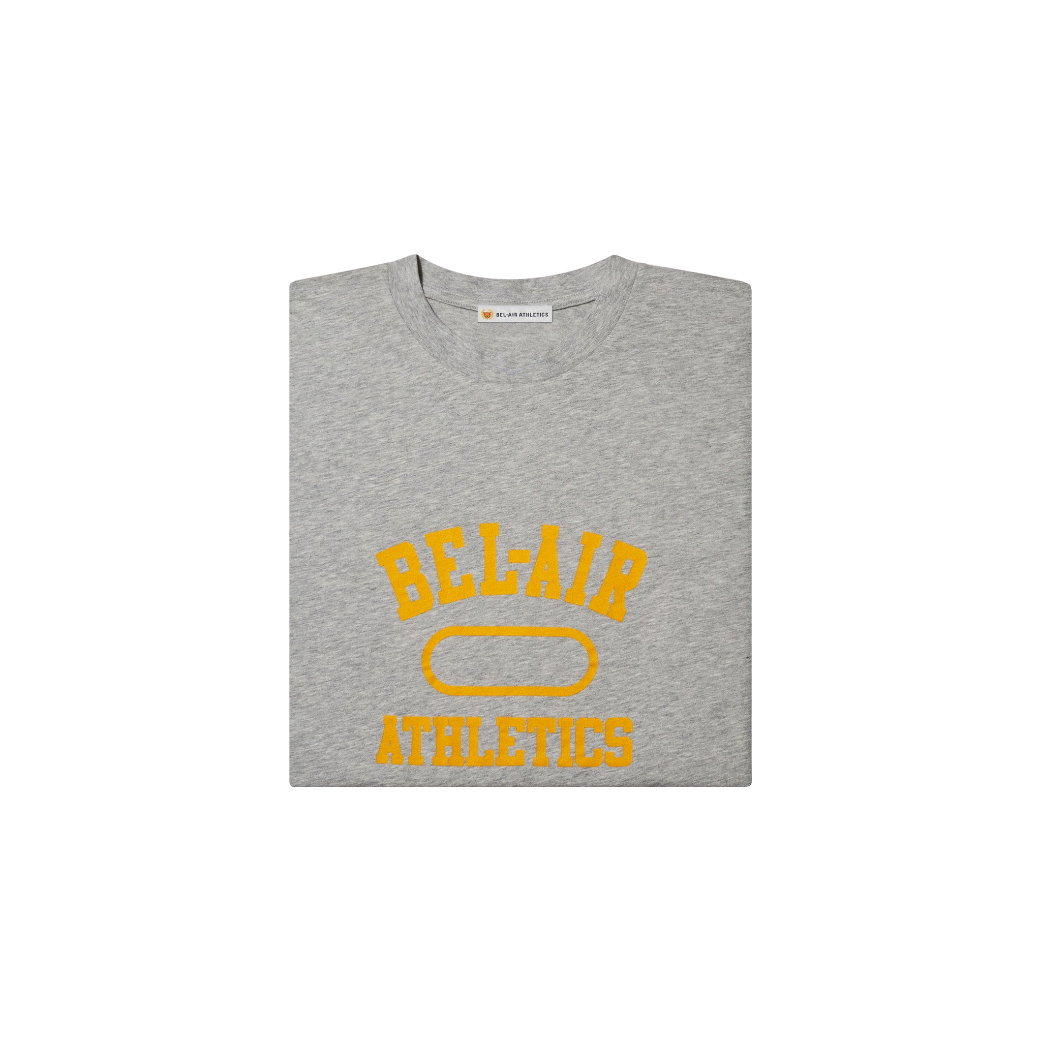 Gym Logo LS T-Shirt - Athletic Grey with Collegiate Gold print
