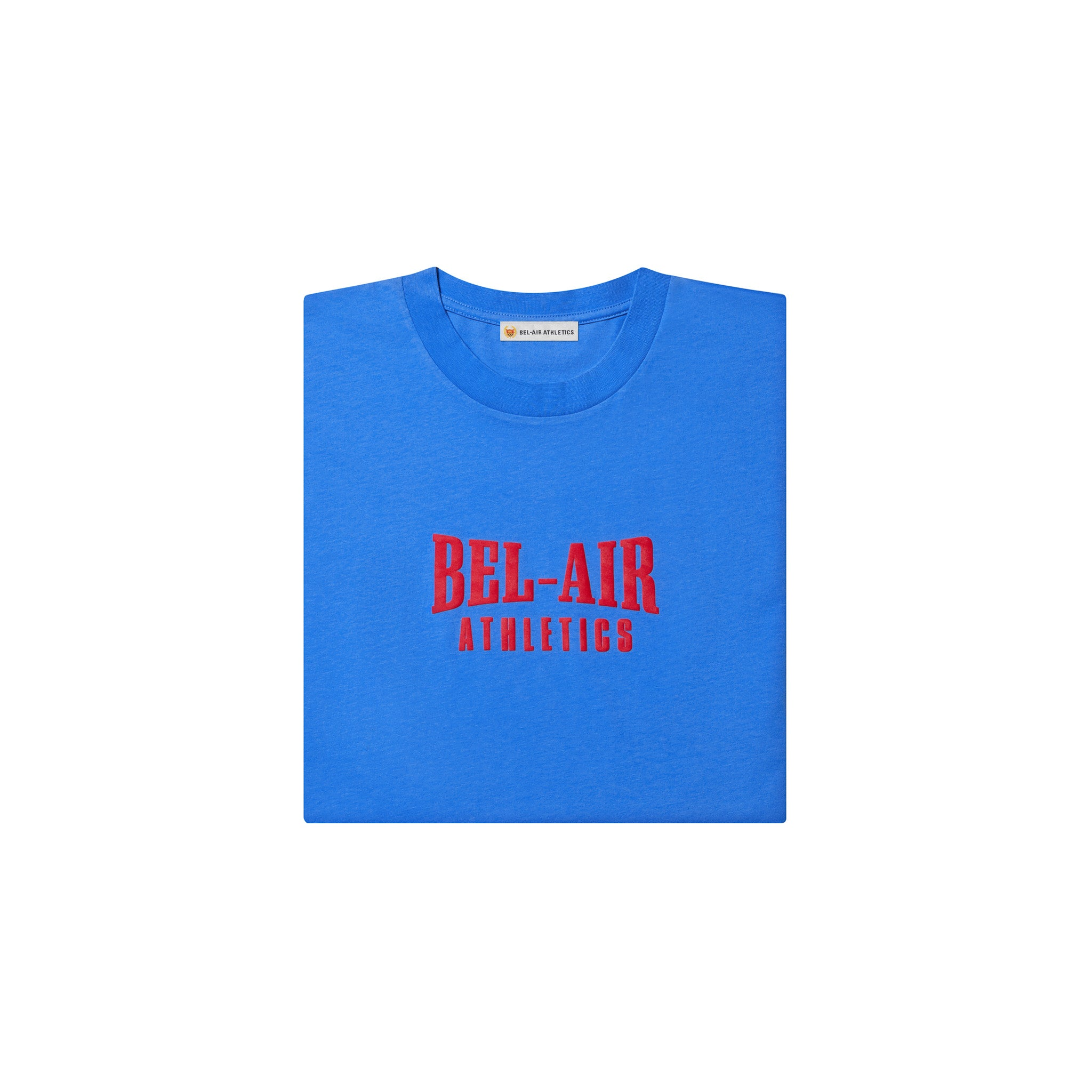 Puff print logo LS tshirt - Varsity Blue with Academy Red print