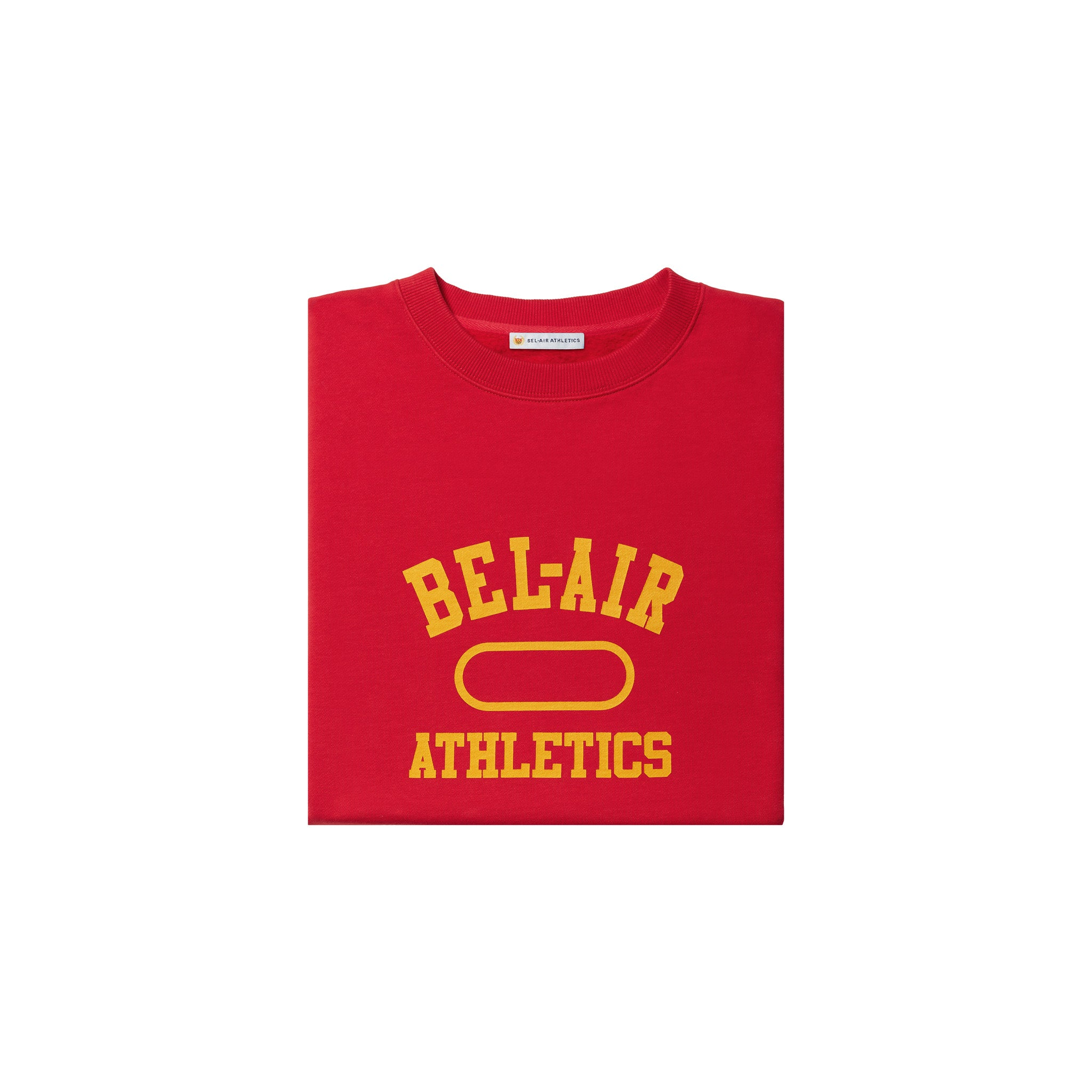 Gym Logo Cropped Crew Neck - Academy Red with Collegiate Gold print