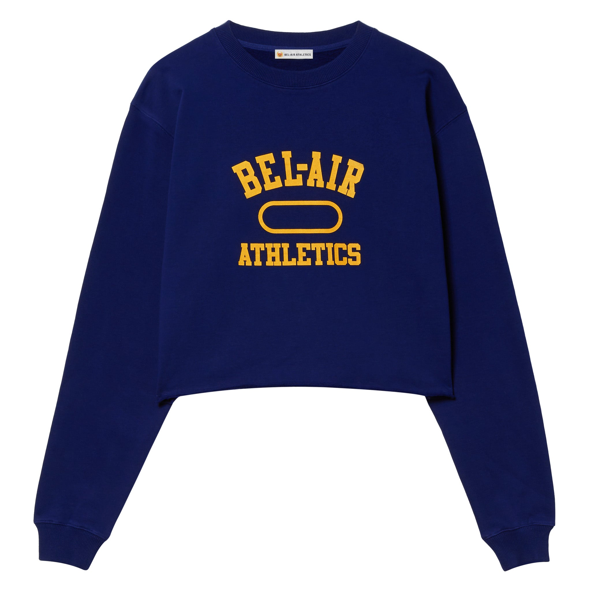 Gym Logo Cropped Crew Neck - Bel-Air Blue with Collegiate Gold print