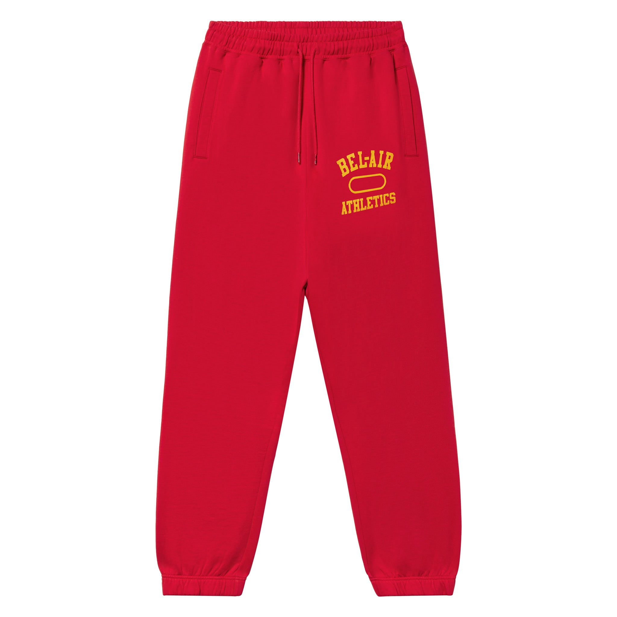 Gym Logo Sweatpant - Academy red with Collegiate Gold print