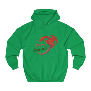 Cariad Love Red Dragon Unisex Welsh Hoodies