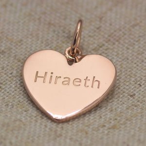 Hiraeth Heart Charm Pendant Sterling Silver or Gold Plated
