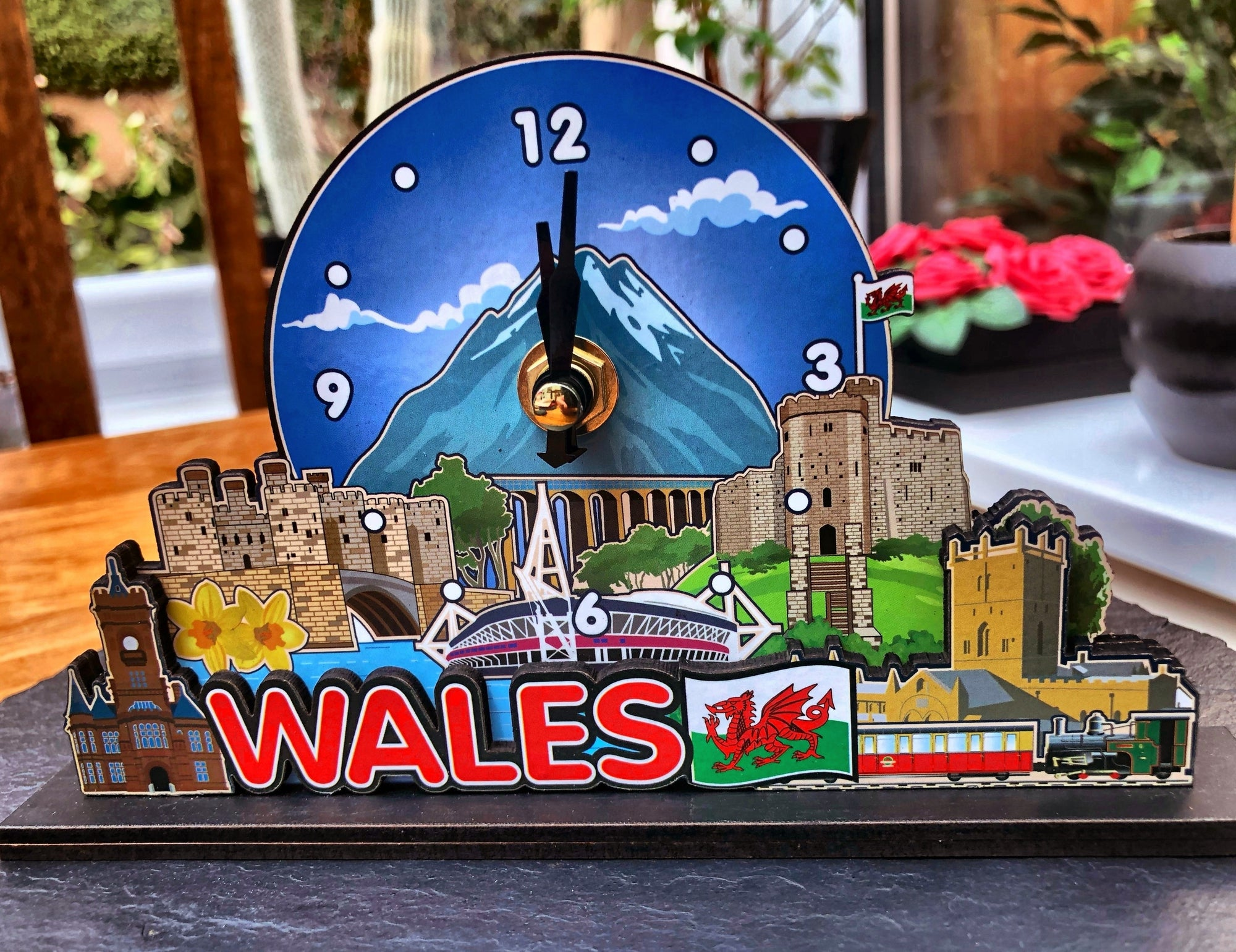 Wales Decorative Wooden Clock