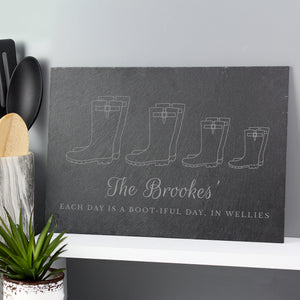 Personalised Welly Boot Family of Three, Four, Five Slate