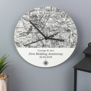 Compass Wooden Clock