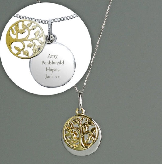 Personalised Sterling Silver & 9ct Gold Family Tree Of Life Necklace