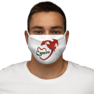Cymru Love Red Dragon Face Cover Snug-Fit White