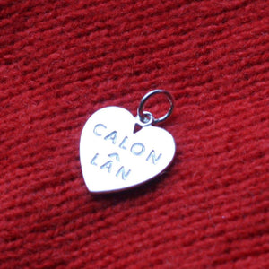 Calon Lan Heart Charm Pendant Sterling Silver or Gold Plated