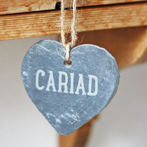 Cariad Hand Carved Slate Heart Decoration