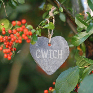Cwtch Hand Carved Slate Heart Decoration