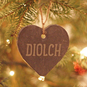 Diolch Hand Carved Slate Heart Decoration