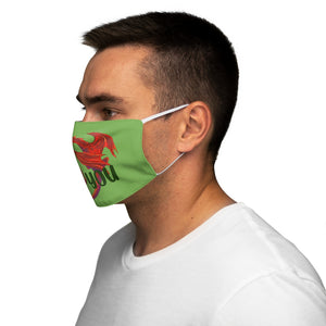 Welsh Dragon I Love You Face Cover Snug-Fit Green