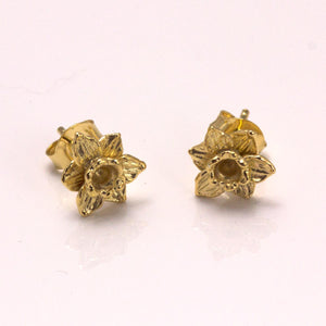 Cymraeg Welsh Daffodil gold plated Earrings