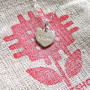 Mam Heart Charm Pendant Sterling Silver or Gold Plated