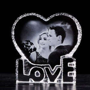Personalised Heart Shaped Optical Crystal Ornament