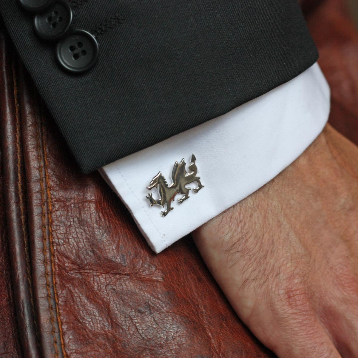 Welsh Dragon Cufflinks Sterling Silver or Gold Plated
