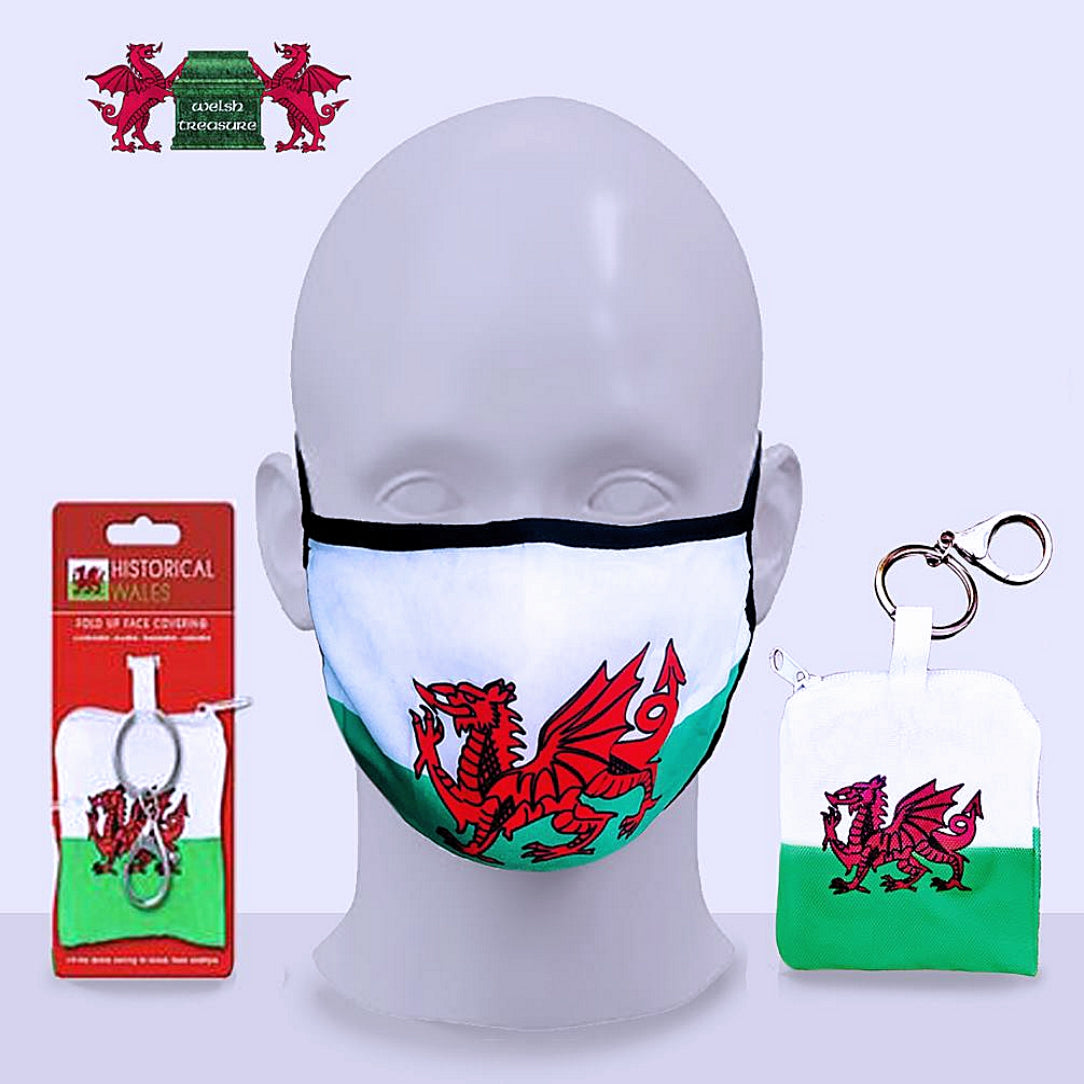 Welsh Flag Reusable Adult Fold Up Face Cover