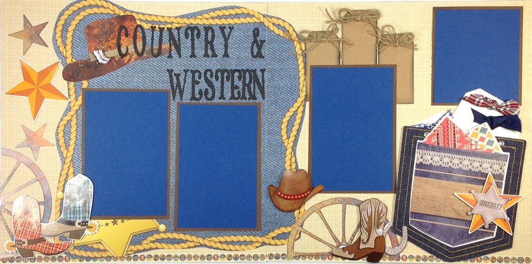 Country & Western Scrapbook Layout Kit