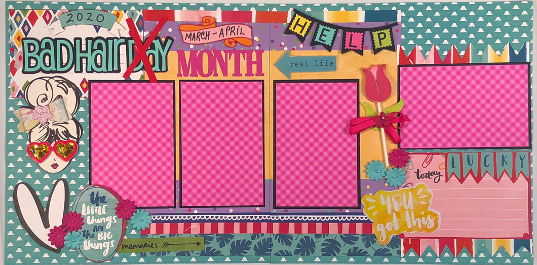 Bad Hair Month Scrapbook Layout Kit