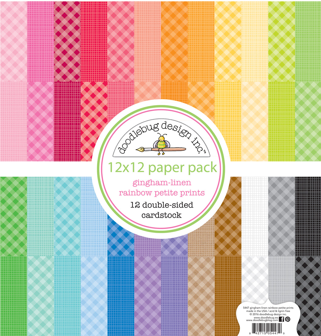 Doodlebug Design - Petite Prints Collection - 12 x 12 Paper Pack - Gingham and Linen - Rainbow