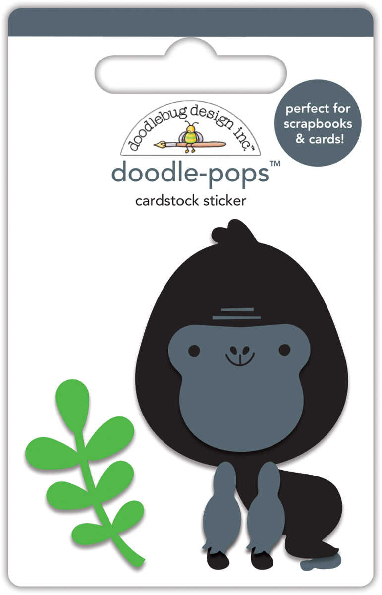 Doodlebug Design - At the Zoo Collection - Doodle-Pops - 3 Dimensional Cardstock Stickers - Gus Gorilla