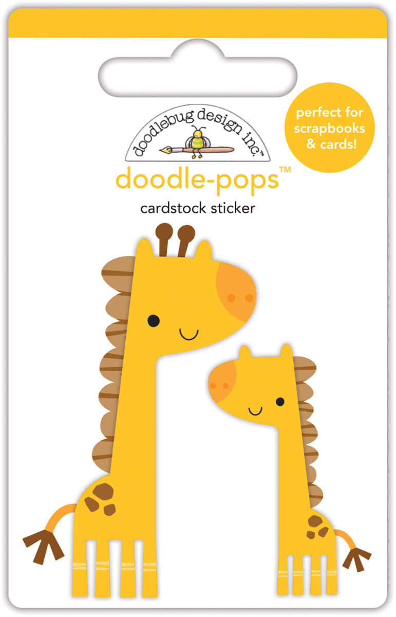 Doodlebug Design - At the Zoo Collection - Doodle-Pops - 3 Dimensional Cardstock Stickers - Jenny & Jojo Giraffe