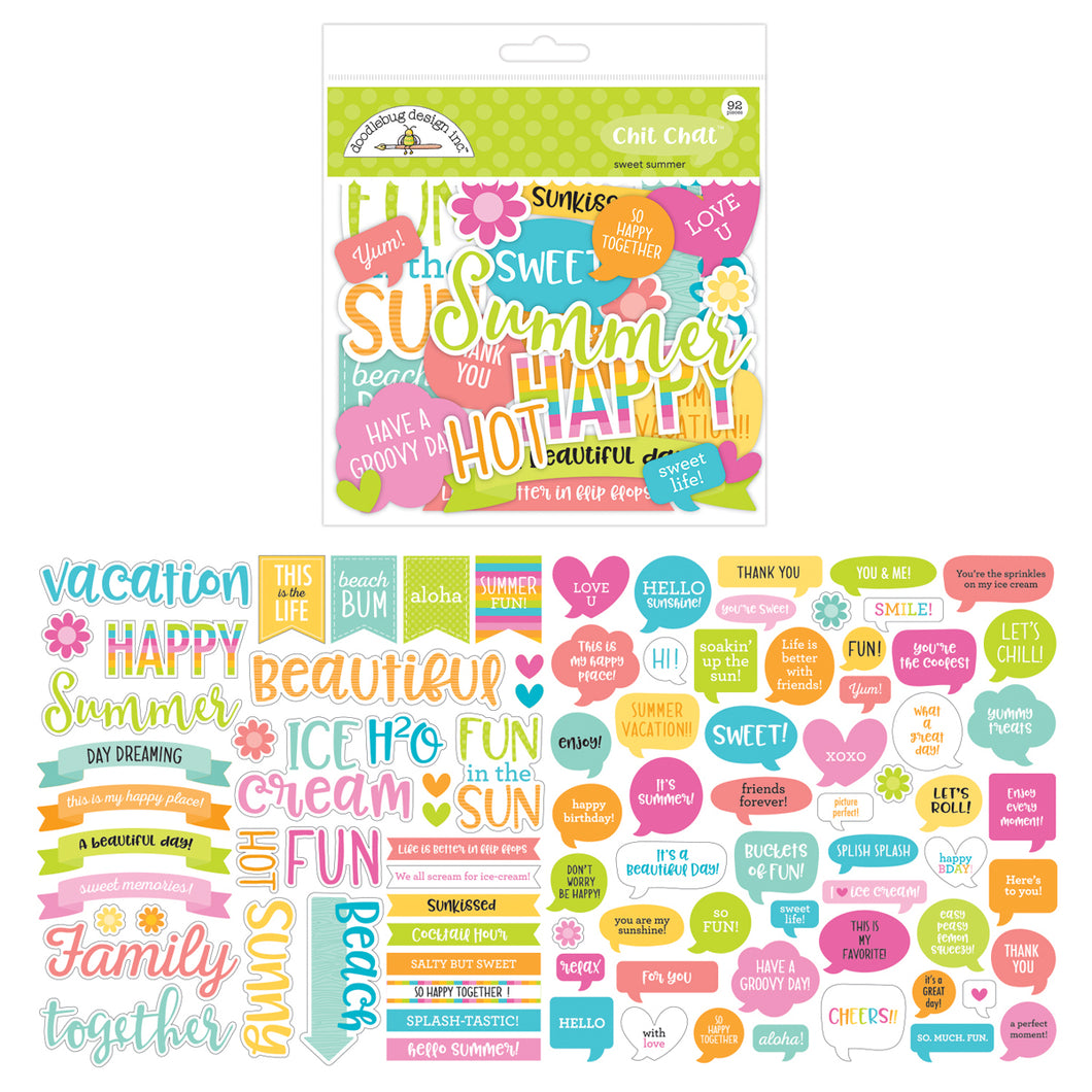 Doodlebug Design - Sweet Summer Collection - Chit Chat - Die Cut Cardstock Pieces