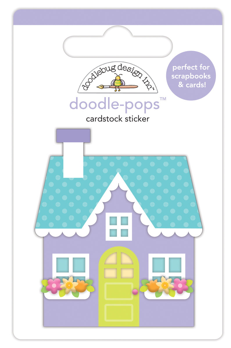 Doodlebug Design - Simply Spring Collection - Doodle-Pops - 3 Dimensional Cardstock Stickers - Cozy Cottage