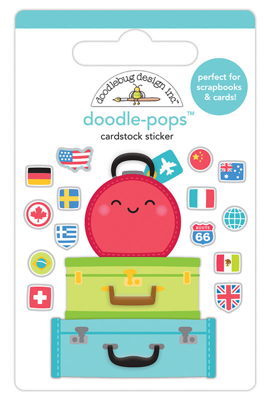 Doodlebug Design - I Heart Travel - Doodle-Pops - 3 Dimensional Cardstock Stickers - Pack Your Bags
