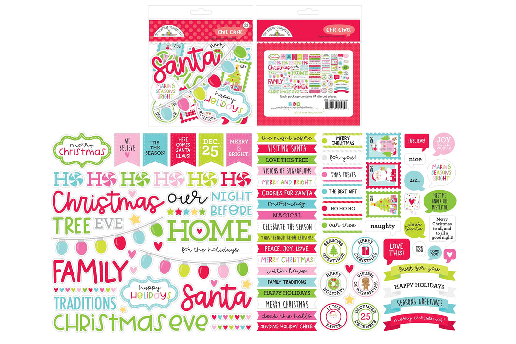 Doodlebug Design - Night Before Christmas Collection - Chit Chat - Die Cut Cardstock Pieces