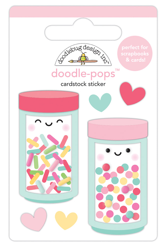 Doodlebug Design - Made With Love Collection - Doodle-Pops - 3 Dimensional Stickers - Sprinkle Shoppe