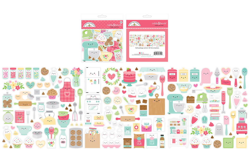 Doodlebug Design - Made With Love Collection - Odds and Ends - Die Cut Cardstock Pieces