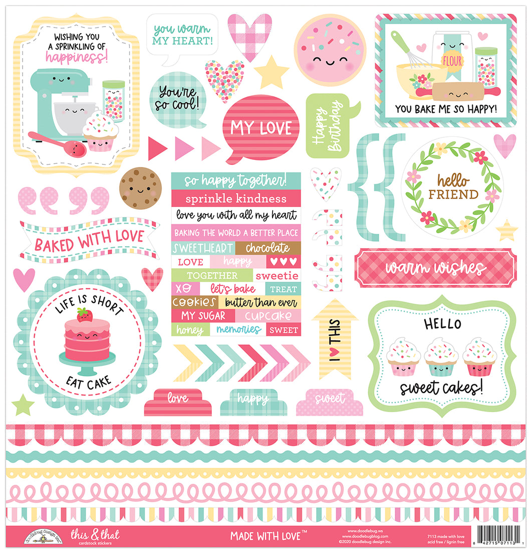 Doodlebug Design - Made With Love Collection - This & That Sticker Sheet