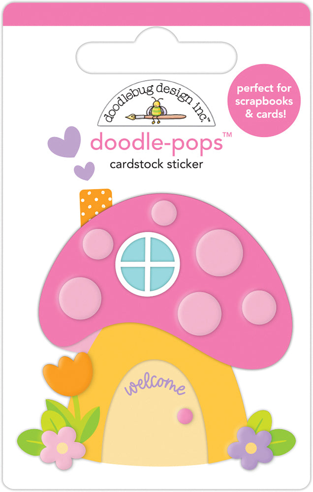 Doodlebug Design - Fairy Garden Collection - Doodle-Pops - 3 Dimensional Stickers - Fairy House