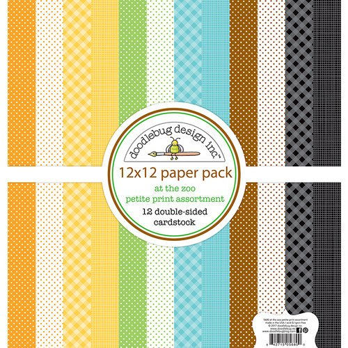Doodlebug Design - At the Zoo Collection - 12 x 12 Paper Pack - Petite Print Assortment
