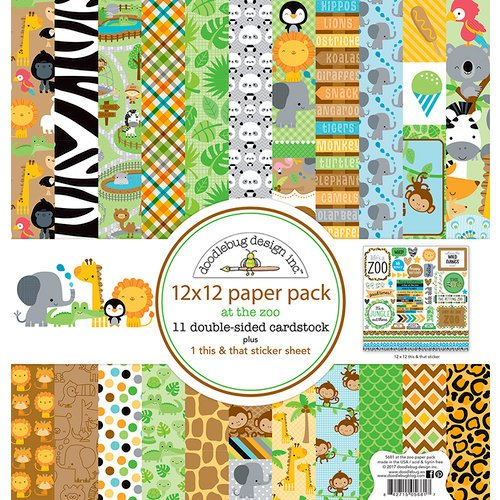 Doodlebug Design - At the Zoo Collection - 12 x 12 Paper Pack