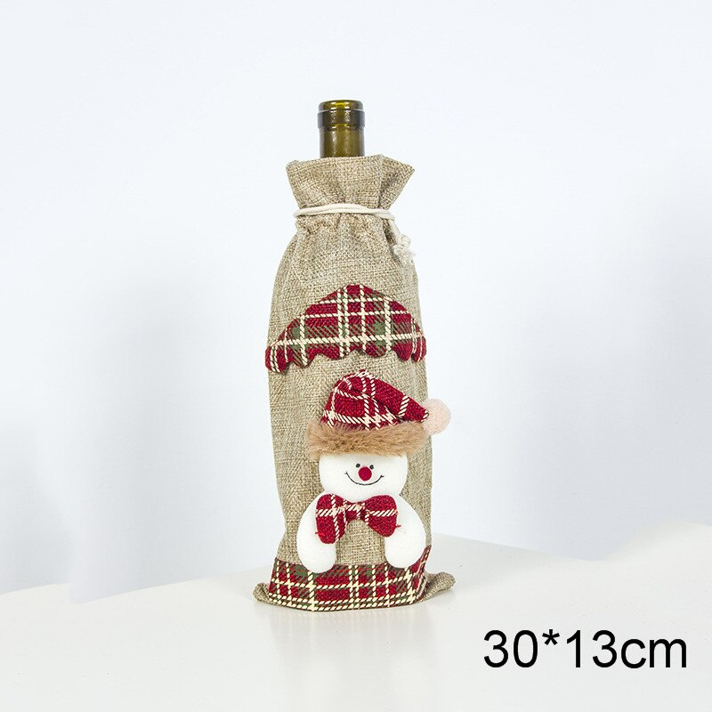 Santa Claus Wine Bottle Cover Christmas Decorations For Home 2021 Christmas Stocking Gift Bag Navidad New Year Party Decor 2020