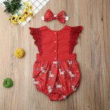 New Cute 2Pcs Kid Baby Girl Xmas Christmas Party Deer Romper Bodysuit Headband Outfit Set