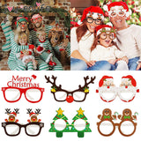 9pcs Christmas Glasses Santa Claus Snowman Snowflake Tree Elk Paper Glasses Party Photo Props 2020 Christmas Decoration For Home