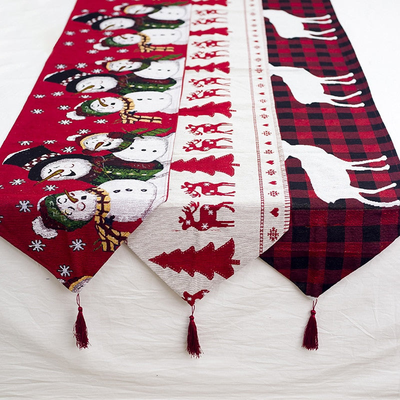 Christmas Gift Linen Elk Snowman Table Runner Merry Christmas Decor for Home 2020 Xmas Ornaments New Year's Decor 2021 Navidad
