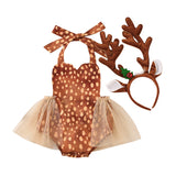 Christmas Baby Girls Bodysuits Headband Sleeveless Cartoon Print Lace Ruffles Jumpsuits Deer Headwear