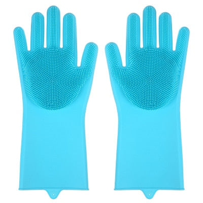 1Pair Dishwashing Cleaning Gloves Magic Silicone Rubber Dish Washing Glove for Household Scrubber Kitchen Clean Tool Scrub
