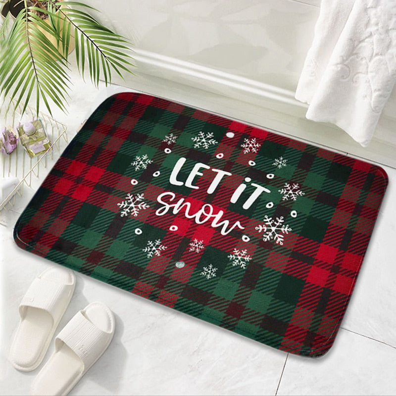 Merry Christmas Mat Flannel Outdoor Carpet Christmas Decorations For Home Xmas Santa Ornament Navidad 2020 Noel New Year Gifts