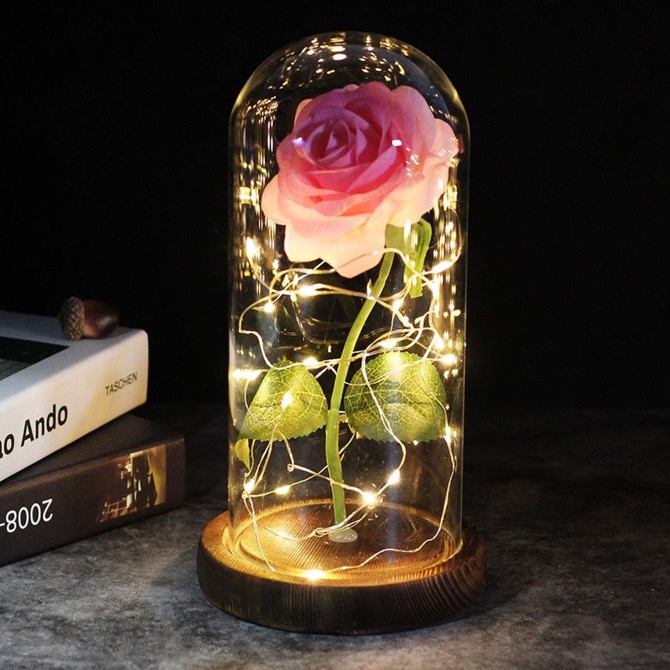 6 Colour Beauty And The Beast Red Rose In A Glass Dome On A Wooden Base For Valentine's Gifts LED Rose Lamps Christmas