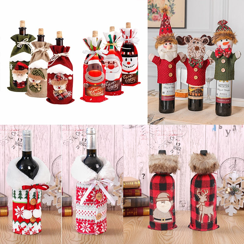 Christmas Wine Bottle Cover Merry Christmas Decor For Home 2020 Christmas Table Decor Navidad Natal Noel Xmas Gift New Year 2021