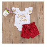 Newborn Christmas Outfits Infant Baby Girls Clothes Sets Short Sleeve Letter Romper + Polka Dot Ruffle Shorts