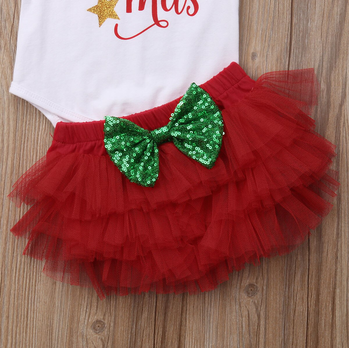 Xmas Newborn Baby Girl My First Christmas Romper+ Red Lace Tulle Pants Clothes Outfits